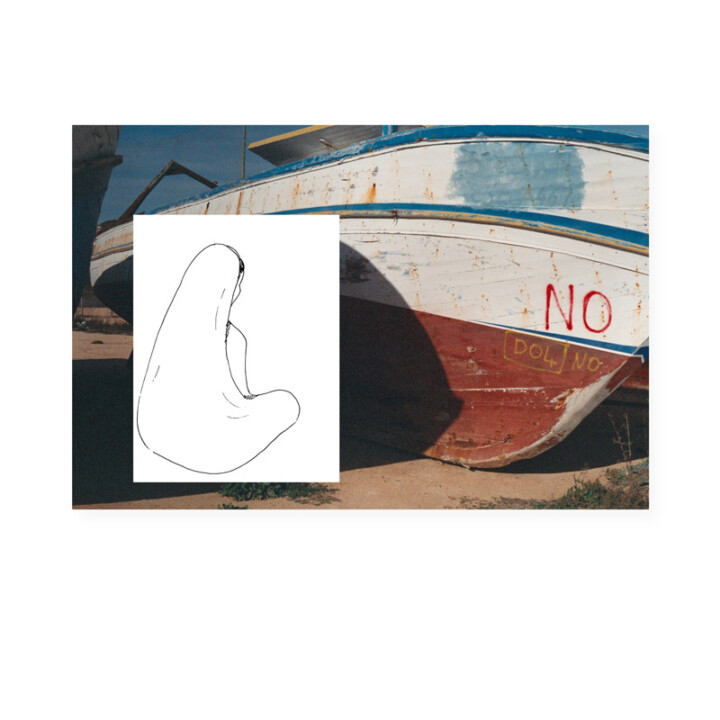 Lampedusa – L'attente – Juliette Seban – Collage dessin original sur tirage argentique