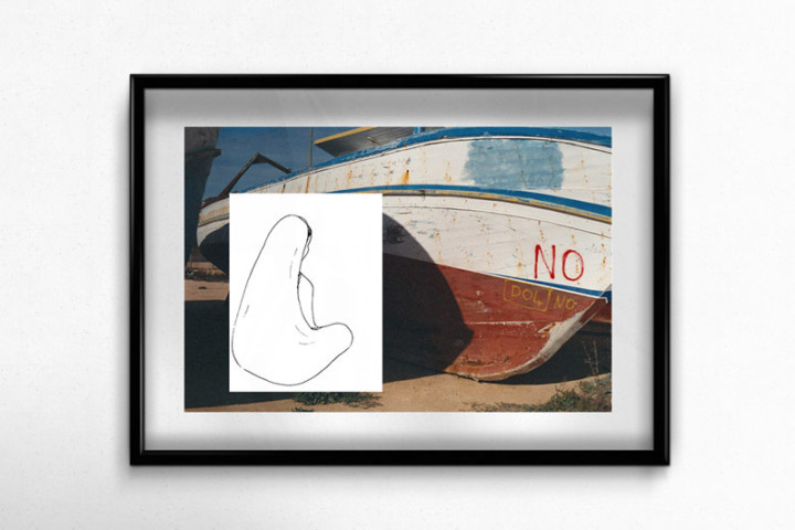 Lampedusa – L'attente – Juliette Seban – Collage dessin original sur tirage argentique