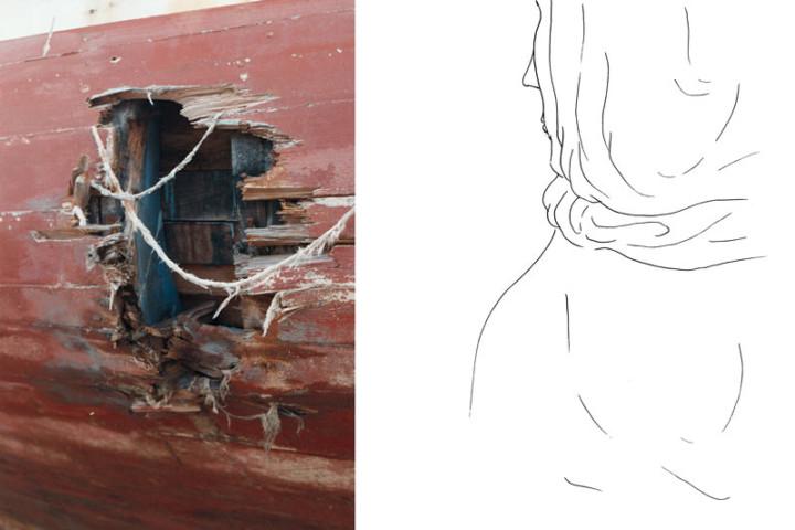 Lampedusa – La fuite – Juliette Seban – Collage dessin original sur tirage argentique