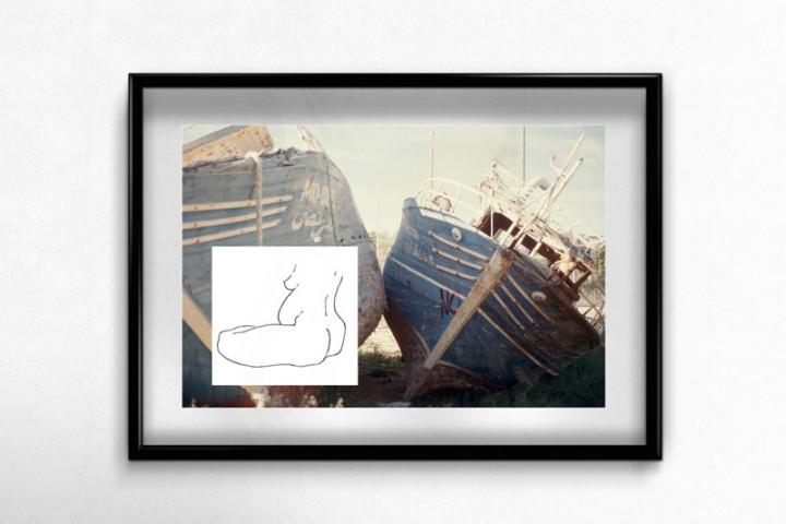 Lampedusa – Le père – Juliette Seban – Collage dessin original sur tirage argentique