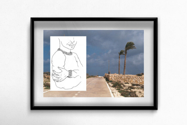 Lampedusa – Sale temps – Juliette Seban – Collage dessin original sur tirage argentique