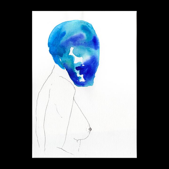 Masques – la femme bleue – Juliette Seban – Dessin original