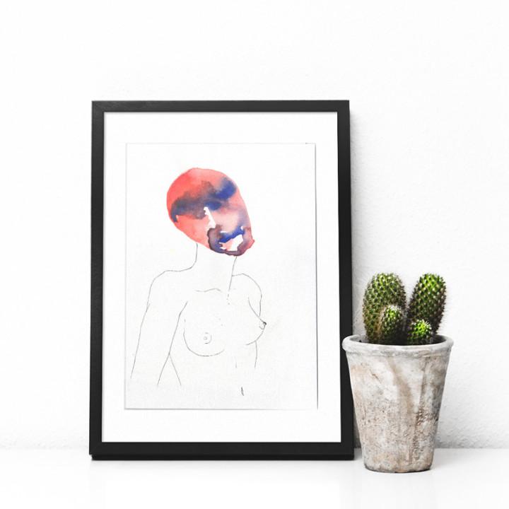 Masques – la femme rouge – Juliette Seban – Dessin original