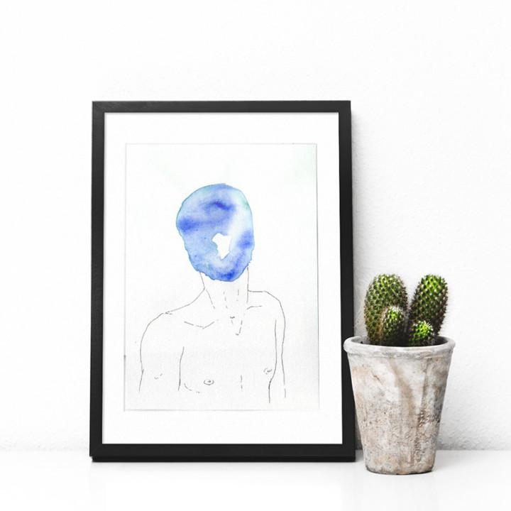 Masques – l'homme bleu – Juliette Seban – Dessin original