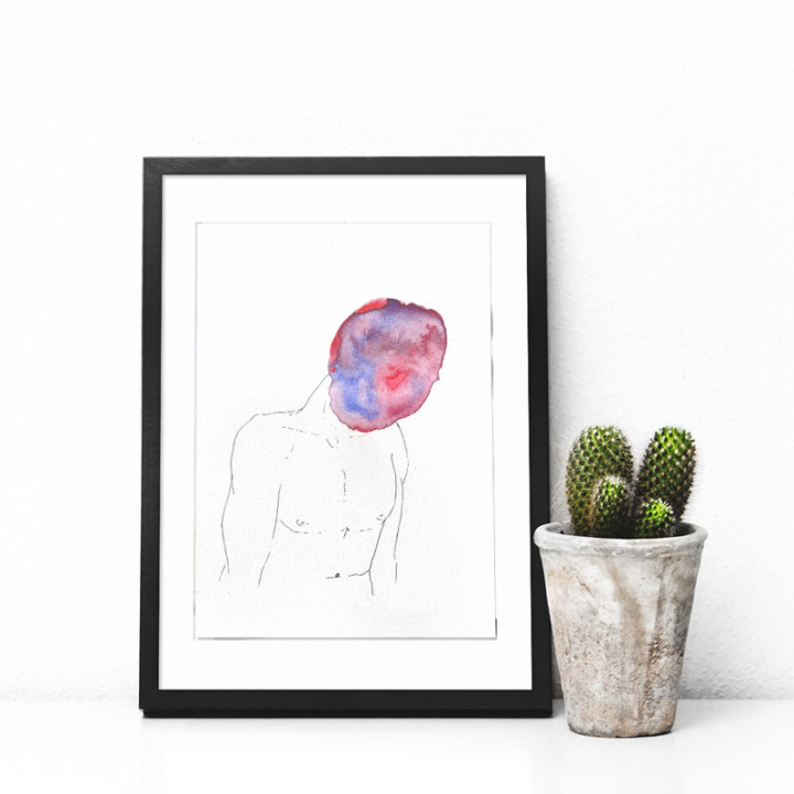Masques – l'homme violet – Juliette Seban – Dessin original