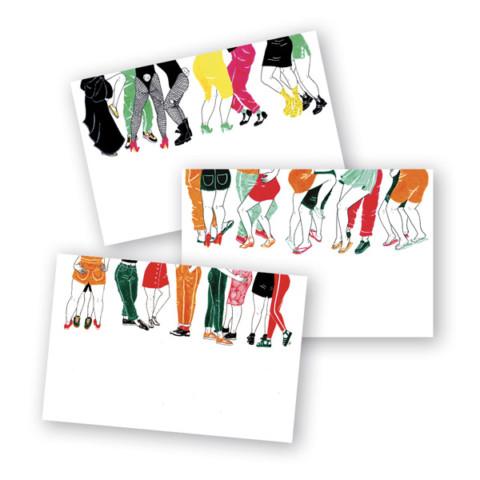 Les danseurs – 3 cartes postales