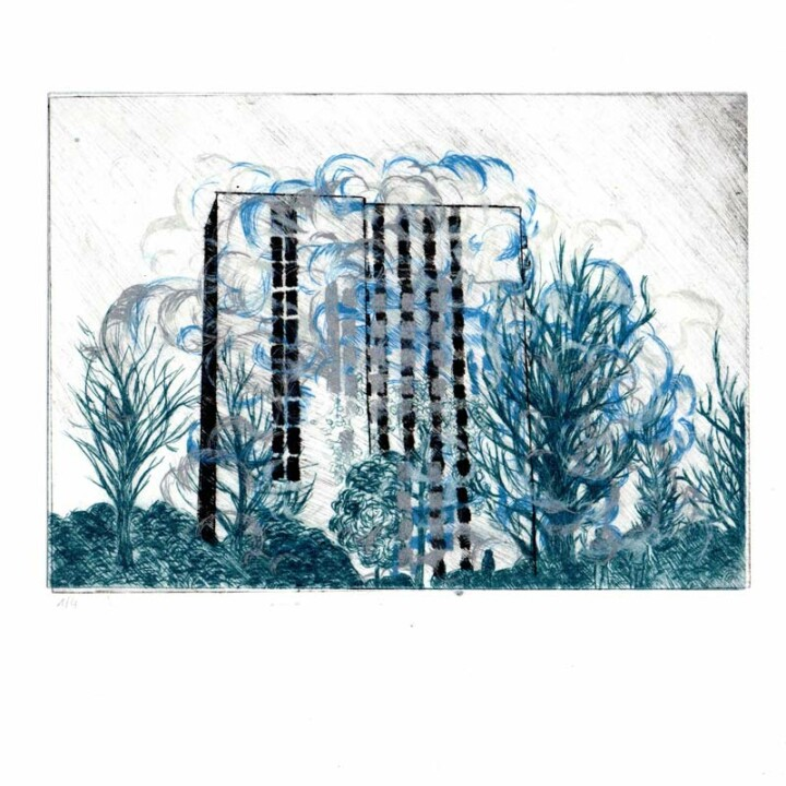 La chute I, gravure – Juliette Seban