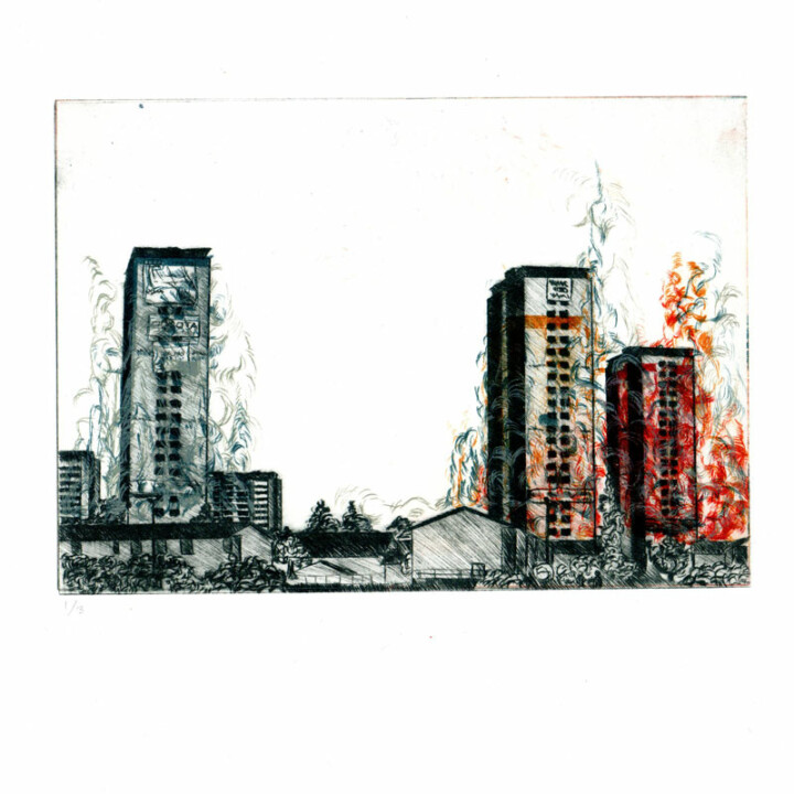 La chute II, gravure – Juliette Seban